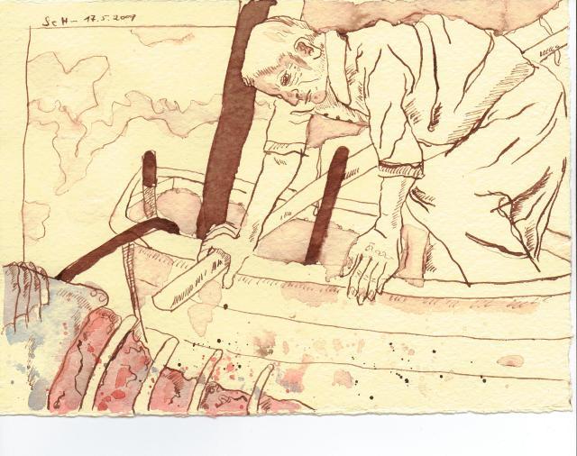 Der alte Mann wartete - Zeichnung von Susanne Haun