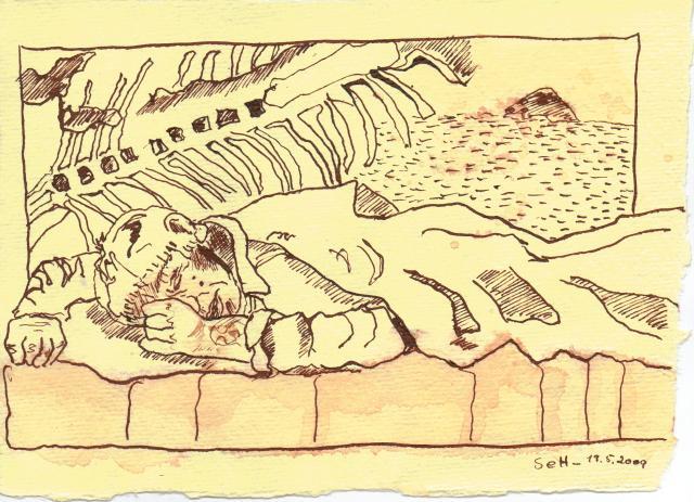 Dann legte er sich auf sein Bett - Zeichnung von Susanne Haun
