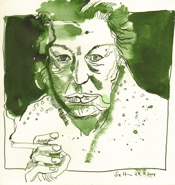 Das Alter, Zeichnung von Susann Haun, Tusche auf Aquarellkarton, 20 x 20 cm, Zeichnung von Susann Haun (c) VG Bild-Kunst, Bonn 2019