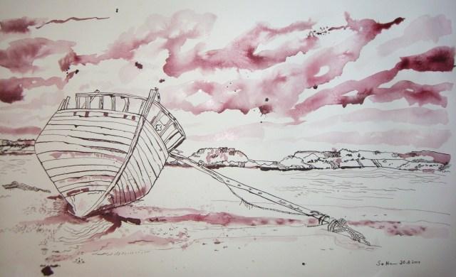 Küste - Zeichnung von Susanne Haun, 45 x 78 cm Tusche auf Büttenpapier (c) VG Bild Kunst, Bonn 2018