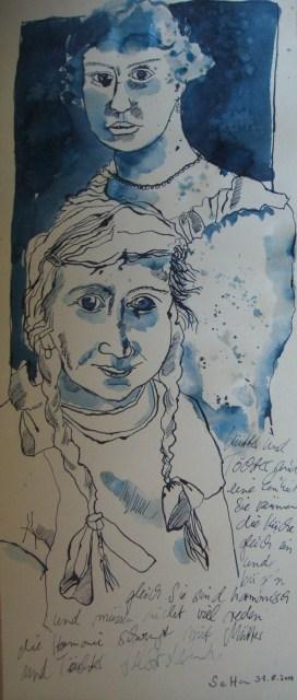 Mutter und Tochter - Zeichnung von Susanne Haun