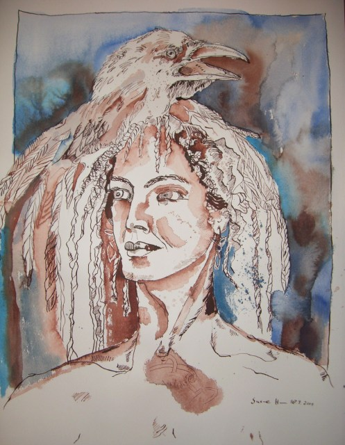 2009: Vogelfrau (c) Zeichnung von Susannne Haun 60 x 55 cm Tusche und Aquarell auf Lana - Bütten