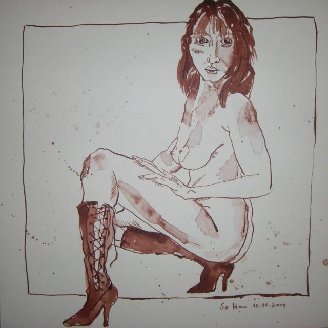 Akt mit Stiefel - Zeichnung von Susanne Haun