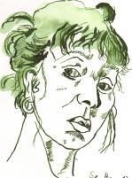 Selbst im Spiegel - Zeichnung von Susanne Haun - 20 x 15 cm - Tusche auf Bütten