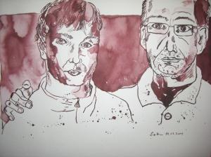 Vater und Sohn - Zeichnung von Susanne Haun - Tusche auf Bütten - 30 x 40 cm