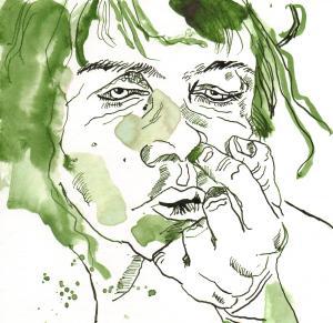 Der Nasenbohrer - Zeichnung von Susanne Haun - 20 x 20 cm - Tusche auf Bütten