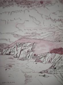 Küstenwolken - Zeichnung von Susanne Haun - Tusche auf Bütten - 33 x 24 cm