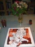 Entstehung Blumenstrauß - Zeichnung von Susanne Haun - 25 x 25 cm - Tusche auf Bütten