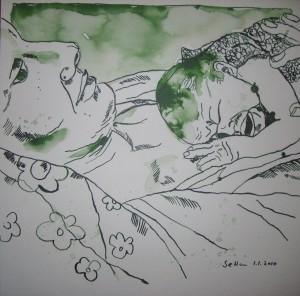 Geburt - Zeichnung von Susanne Haun - 25 x 25 cm, Tusche auf Bütten