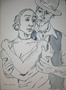 Tango - Zeichnung von Susanne Haun - 36 x 26 cm - Tusche auf Bütten