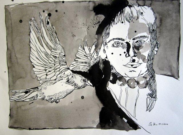 Kein Rabe ist fleischgieriger - Zeichnung von Susanne Haun - Tusche auf Papier - 43 x 56 cm