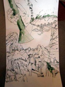 Berge auf der Rolle - Ausschnitt 65 x 40 cm - Zeichnung von Susanne Haun
