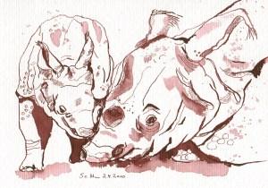 Nashornbaby mit Nashornmama - Zeichnung von Susanne Haun - 17 x 24 cm - Tusche auf Bütten