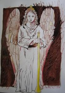 Engel der 1. Posaune - Zeichnung von Susanne Haun - Tusche und Polychromo auf Bütten - 32 x 24 cm