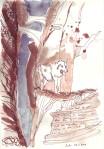 Mit keuchendem Atem klomm er die steile Bergwand hinan, … - Zeichnung von Susanne Haun - 30 x 20 cm - Tusche auf Skizzenpapier