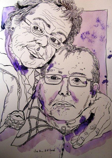 Meine Eltern - Zeichnung von Susanne Haun - 33 x 24 cm - Tusche auf Bütten