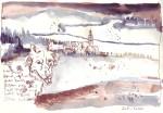 In der fremden Gegend, nach so guter Beute, fühlten sich die drei Tiere zugleich scheu und wohl; - Zeichnung von Susanne Haun - 20 x 30 cm - Tusche auf Skizzenpaier