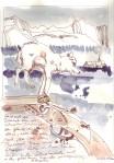 Keiner sah die Schönheit des verschneiten Forstes …. in den gebrochenen Augen des erschlagen Wolfes … - Zeichnung von Susanne Haun - 30 x 20 cm - Tusche auf Skizzenpapier