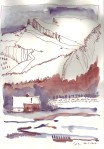 Noch nie war in den französischen Bergen so ein Winter gewesen - Zeichnung von Susanne Haun - 30 x 20 cm - Hahnemühle Skizzenpapier