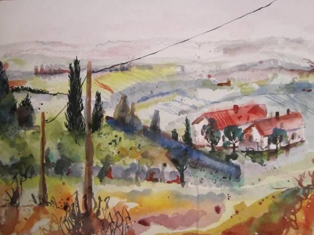 Landschaft in der Toskana - Aquarell von Susanne Haun - 36 x 48 cm