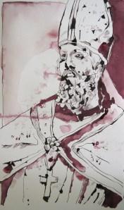 Bischoff - Zeichnung von Susanne Haun - 50 x 30 cm - Tusche auf Aquarellkarton