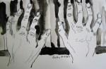 Hände am Klavier 2 - Skizze von Susanne Haun - 20 x 30 cm - Tusche auf Bütten