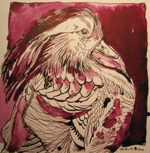 Mandarinente - Zeichnung von Susanne Haun - 25 x 25 cm - Tusche auf Bütten