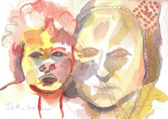 Mama und ihre Mutter - Zeichnung von Susanne Haun - 17 x 22 cm - Tusche auf Hahnemühle Selection