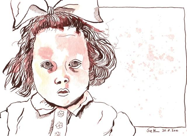 Mama mit 2 Jahren - Zeichnung von Susanne Haun - 17 x 22 cm - Tusche auf Hahnemühle Selection
