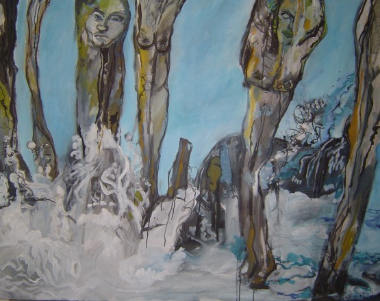 Wellen und Wogen, 2006, Acryl und Tusche auf Leinwand, 100 x 150 cm, Sammlung Maciejewski (c) Gemaelde von Susanne Haun