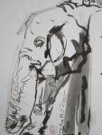 Elefanten tauschten ihr Kleid mit Felsen - 2005 - 70 x 50 cm - Tusche auf Wildseidenpapier