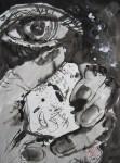 Da griff Piktor, von übermächtigem Verlangen getrieben, nach dem schwindenen Steine - 2005 - 70 x 50 cm - Tusche auf Wildseidenpapier