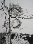Deutlich spürte er, dass er in der Heimat und am Quell des Lebens sei - Zeichnung von Susanne Haun - Tusche auf Wildseidenpapier - 70 x 50 cm - 2005