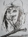 ... nahm immer mehr jene müde, ernste und bekümmerte Haltung an ... - 2005 - 70 x 50 cm - Tusche auf Wildseidenpapier