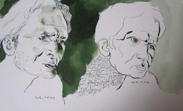 Der Koch - Zeichnung von Susanne Haun - 24 x 40 cm - Tusche auf Bütten