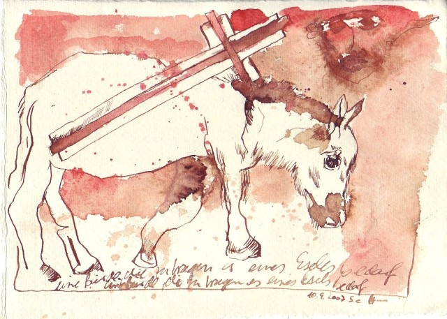 Esel - Zeichnung von Susanne Haun - 17 x 20 cm - Tusche und Aquarell auf Silberburg Bütten