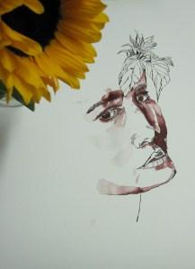 Entstehung Orphelia oder Siddal - Zeichnung von Susanne Haun - 80 x 60 cm - Tusche auf Bütten