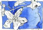 Blaue Blume - Zeichnung von Susanne Haun - 17 x 22 cm - Tusche auf Bütten