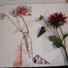 Entstehung Stillleben Zeichnung von Susanne Haun