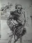 Horatio: Die Gräber leer, verhüllte Tote schrien - Zeichnung von Susanne Haun - 70 x 50 cm