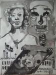 König: Jetzt unsre Königin, die hohe WitweUnd Erbin dieses kriegerischen Staats,… - Zeichnung von Susanne Haun - 70 x 50 cm
