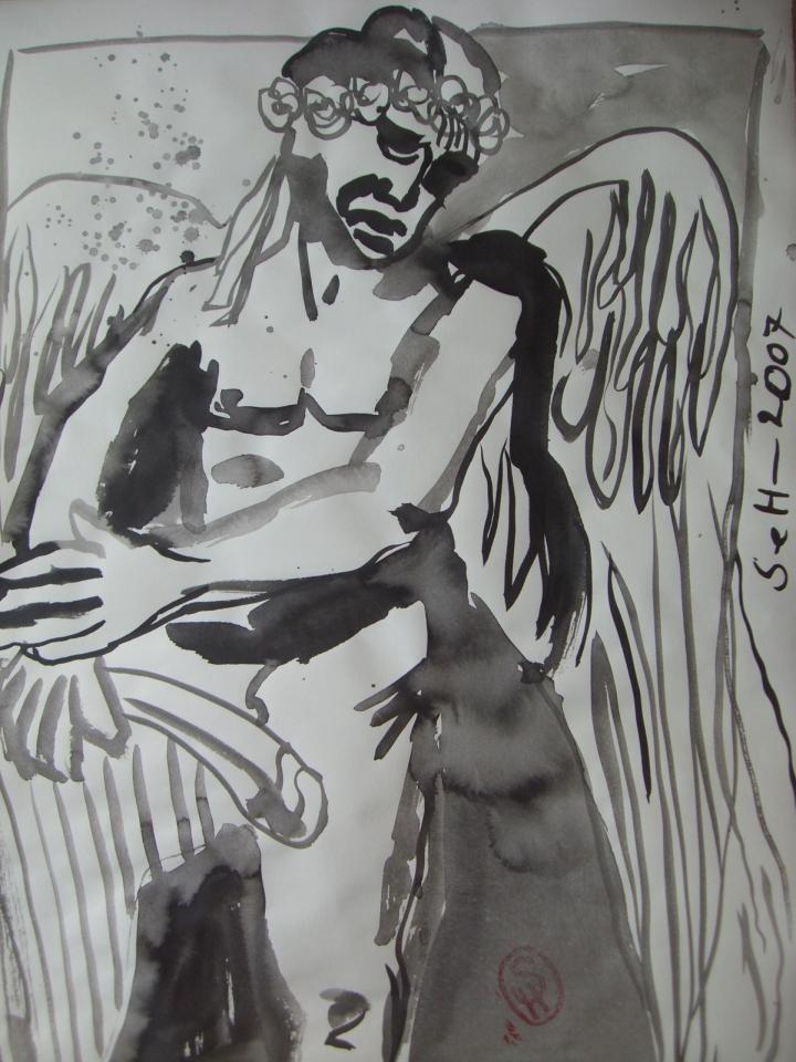 Hamlet: Engel und Boten Gottes, steht uns bei! … - Zeichnung von Susanne Haun - 70 x 50 cm