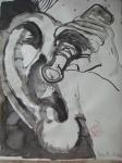 Geist: Mit Saft verfluchten Bilsenkrauts im Fläschchen, Und träufelt' in den Eingang meines Ohrs… - Zeichnung von Susanne Haun - 70 x 50 cm