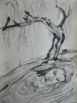 Königin: Es neigt ein Weidenbaum sich übern Bach … - Zeichnung von Susanne Haun - 70 x 50 cm