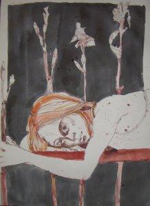Ich im Januar 2008 auf schwarz - Zeichnung von Susanne Haun - 80 x 60 cm