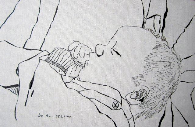 Melvin Mattern 10 Stunden nach seiner Geburt - Zeichnung von Susanne Haun - Tusche auf Römerturm Ölmalblock - 20 x 30 cm