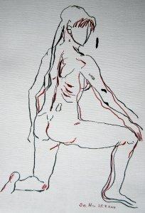 Die Frau in Bewegung - Zeichnung von Susanne Haun - Tusche auf Römerturm Ölmalblock - 30 x 20 cm