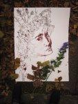 Ophelia im Laub - Zeichnung von Susanne Haun - 80 x 60 cm - Tusche auf Bütten