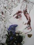 Ophelia und der Rittersporn - Zeichnung von Susanne Haun