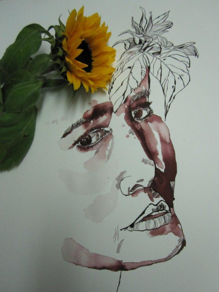 Ophelia und die Sonnenblume - Zeichnung von Susanne Haun